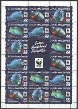 NW0551 SALE MALDIVES WWF GREEN HUMPHEAD PARROTFISH #6200-6203 FULL SH(4SET) MNH
