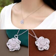Women Jewelry Heart Necklace Flower Chain Pendant