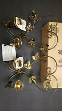 Homco Home Interiors Brass Gold Leaf Scroll Wall Accent Decor Votive Sconce 2Pc