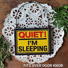 Mini Sign Quiet I'm Sleeping Fits over Doorknob DORM Not Disturb Ornament New US