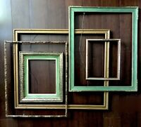 "Wood Picture Frame Set 5 Faux Bamboo Tiki Gold Green 11""-26"" Vtg Mid Century"
