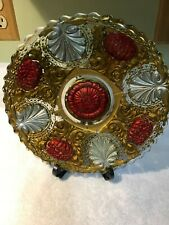 Antique Goofus Glass Dahlia Dish Gold, Red & Silver