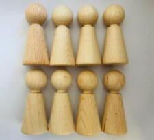 Figurenkegel 70 mm hoch, 16 Stück, Holzfiguren, Spielfiguren, Buche unbehandelt