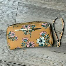 Steve Madden Yellow Floral Large Clutch Bag Wristlet Travel Purse Wallet  GREAT