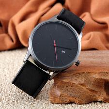 Fashion Mens Women Analog Sport Wrist Stainless Steel Case Leather Quartz Watch