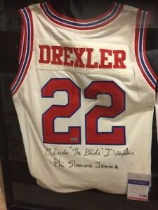 Clyde Drexler signed autographed 1983 Houston Cougars authentic Jersey JSA Cert