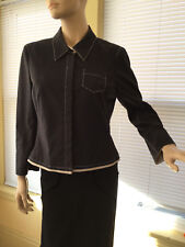 Worth Black Jacket Size 12 hidden buttons ivory stretch EUC !!!