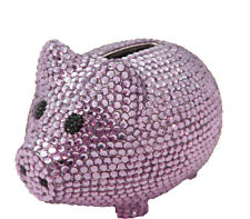 Purple Crystal Pig Metal Coin Piggy Bank with Swarovski Crystals - Baby Gift