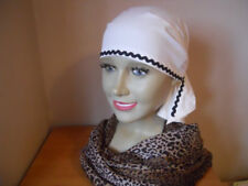 LADIES COTTON BANDANA CREAM WITH BLACK  ZIG ZAG TRIM- BALD - CHEMOTHERAPY