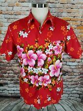 Vintage 1960's Ui Maikai Hawaii Men's Hawaiian Shirt Hibiscus Red L