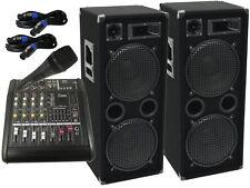 Das PA-SET36 Powermixer Anlage DJ 3Wege 4 x30cm Bass Mikro USB Musikanlage 3000W