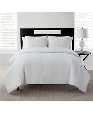 Vcny Home Nina Embossed 3 Piece Full / Queen Quilt Set White $96