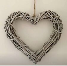 Grey Rustic Rattan Heart Hanging Decoration 30cm