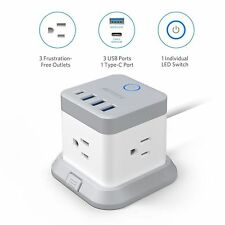 BESTEK Power Strip, 1875W 5ft Vertical Cube Power Outlet Extender with 3 Outlet
