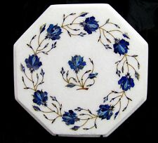 """14"""" Marble Side Lapis Lazuli Coffee Table Top Inlaid Mosaic Home Decor New Art"""