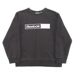Vintage REEBOK  Black 00s Crew Neck Sweatshirt Boys M