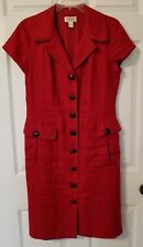 EUC Sz 8 Talbots Red Linen Dress, Fully Lined, Button Front