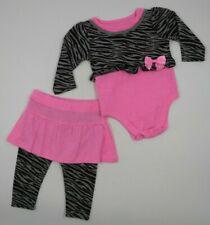 Garanimals Baby Girl 2 Piece Pink Animal Print Pants Outfit Set Size 0-3 Months