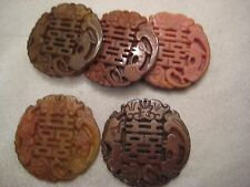 "Carved Nephrite Jade ""Double Happiness (calligraphy)"" Pendant 5pcs"