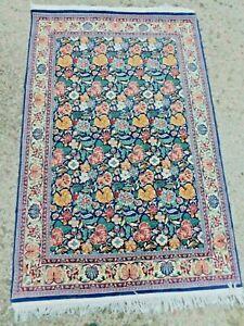 Vintage Oriental Rug Very Fine DENSE Floral Thin Handmade Carpet 4x6 300 KPSI