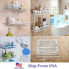 Bathroom Towel Rack Rail Holder Aluminium Basket Shelf Wall Mounted with Hook