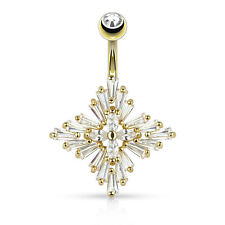 GOLD Plated Princess CZ Gem Cross BELLY Button NAVEL Bar RINGS Piercing Jewelry