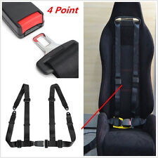 Universal Car Truck 4 Point 2 Strap Racing Safety Seat Belt Buckle Harness Black