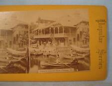 Stereoview Popular Series View In Lincoln Park Chicago Illinois Boats Water (O)