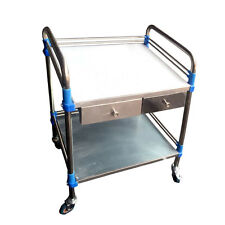 New Silver Clinic Medical Lab Dental Cart Two Layers With 2 Drawers Serving MWT