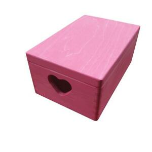 Wooden Serving Box/Trunk Whit Heart and Lid 30cmx20cmx13.5cm Pink Color