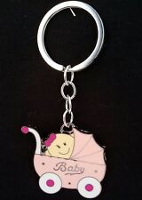 12 Baby Shower Favors Key Chains Girl Stroller, Carriage, Pink, Llaveros, Gift