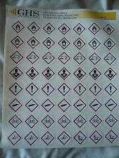 GHS Safety 1in Hazard Class  Pictogram Label Page of 56 labels, New