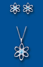 Blue Topaz Pendant and Earrings Set Solid Sterling Silver Flower Design