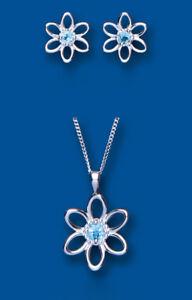 Blue Topaz Pendant and Earrings Set Solid Sterling Silver Flower Design