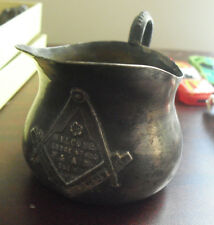 Vintage 1910 Freemason Lodge No 453 Metal Coffee Creamer