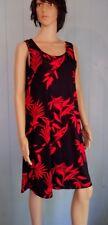 Jostar Red. & BLACK Floral Slinky TANK DRESS Wrinkle Free Travel Fabric M