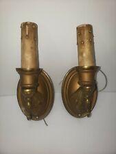 Rewired Antique Brass Wall Sconces Fixtures 2 Art Nouveau