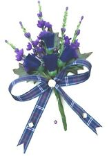 Scottish Thistle & Heather buttonhole corsage Tartan ribbon Diamantes & pin.