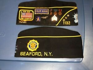 2 AMERICAN LEGION Seaford New York WWII Veteran Garrison Cap Hat With Pins