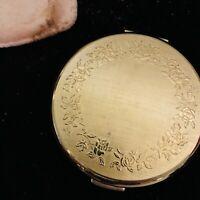 Vintage Stratton England Powder Compact Mirror Rose Border Gold Tone 1950s
