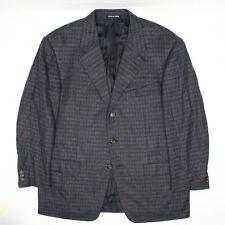 Pal Zileri Mens Cashmere Sport Coat 46S Dark Blue Gray Check Plaid Soft Jacket