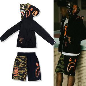 Men's Double Hoodies Shark Jaw Head Sweatshirt Jaws Coat Jacket Sweater Camo