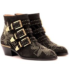 Chloe Susanna Charcoal Suede Studded Ankle Boots 37 NIB