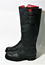 FREE LANCE PARIS SHOES BLACK LEATHER THREE BUCKLE BIKER BOOTS KNEE HIGH TALL 37
