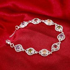 "Sterling Thai Multi Gemstone Topaz Garnet Peridot Citrine Bracelet 7""   1425"