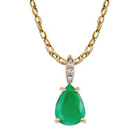 10k Yellow Gold Genuine Pear-Shape Emerald and Diamond Teardrop Pendant Necklace