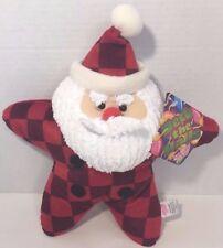 Sugar Loaf Christmas Santa plush decorative star pillow red squares checks w/tag