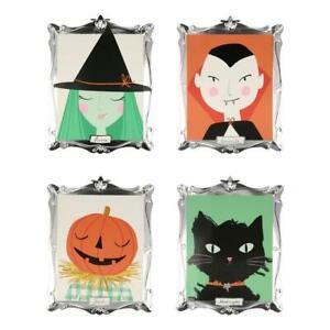 MERI MERI HALLOWEEN Motif Framed Plates Dracula, Witch, Pumpkin, Cat (Pack of 8)