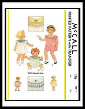 McCall 176 SMOCKED DRESS FROCK Sewing Pattern GIRL Child's Precious 30's ~*1*~