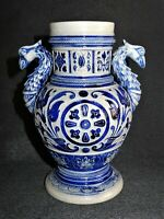 Antique Westerwald (German stoneware) blue - vase zoomorphe 19ème